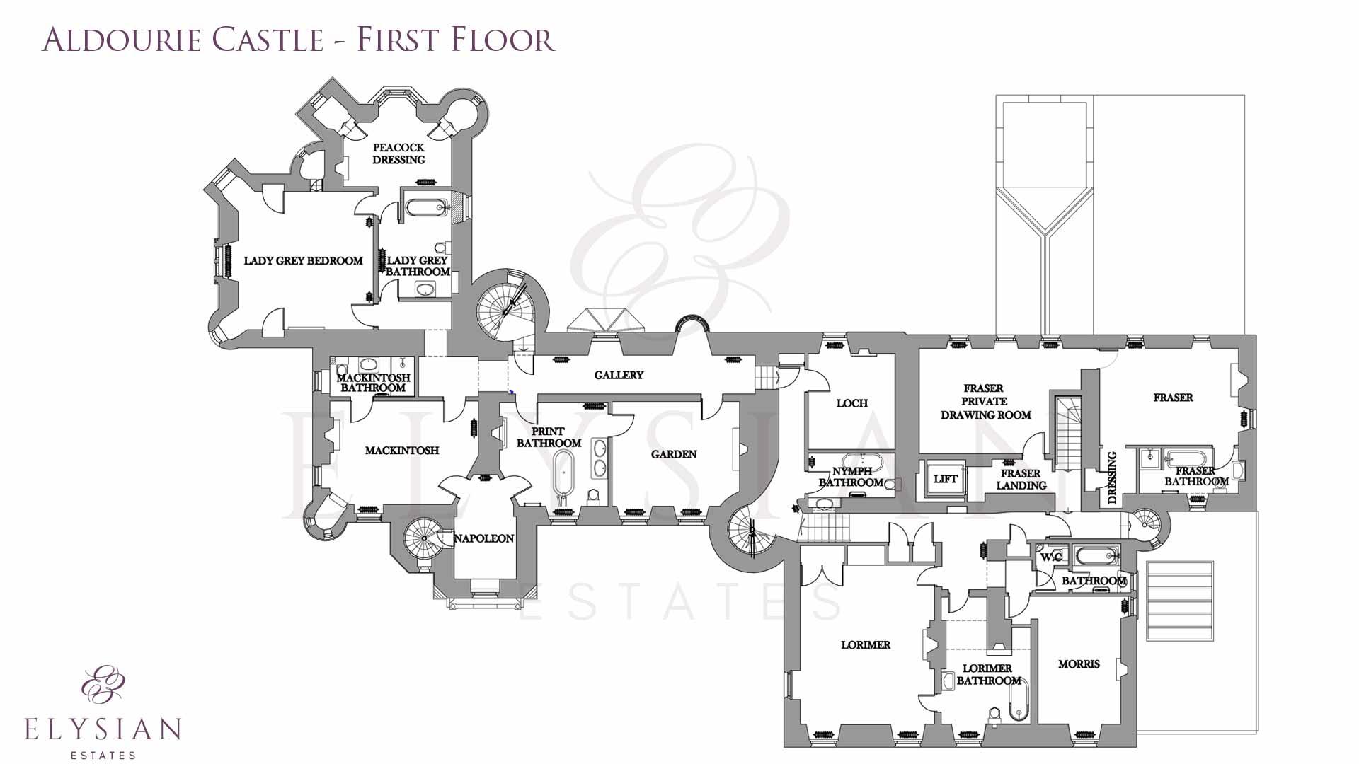 Aldourie castle floor plan first elysian estates for Castle home floor plans