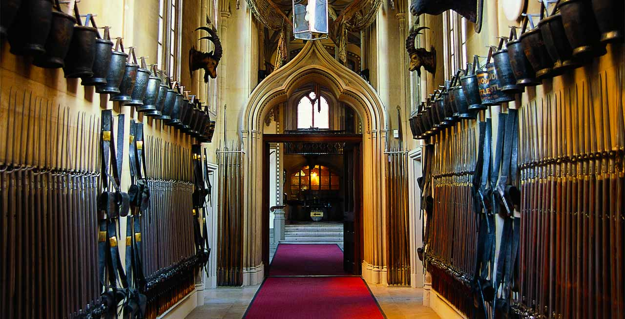 The impressive entrance hall of Belvoir Castle