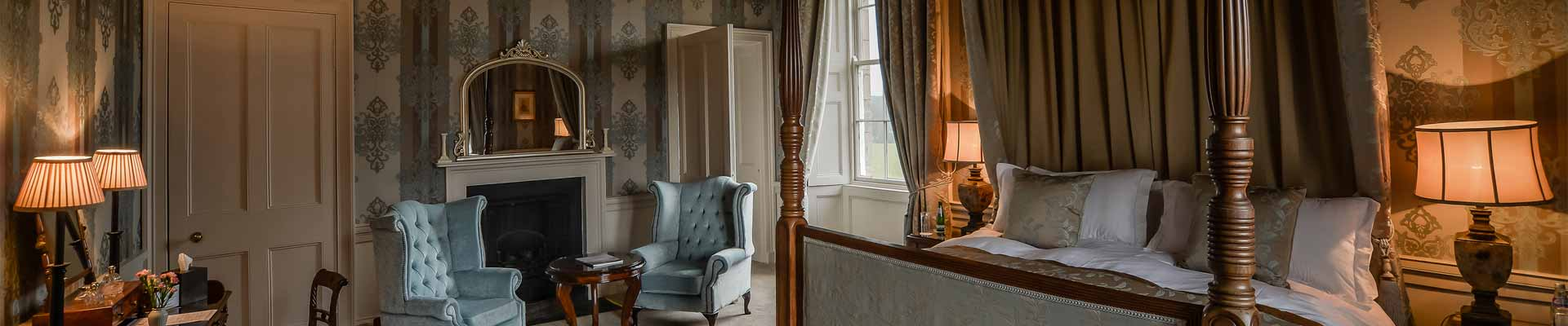 Photo of one of the beautiful bedrooms at Lachlan Castle