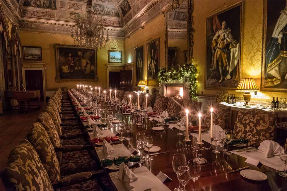 The very grand dining room at Brocket Hall