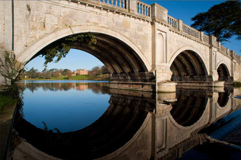 Brocket Hall under its bridge