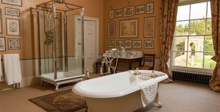 Photo of one of the bathroom suites at Broughton Hall