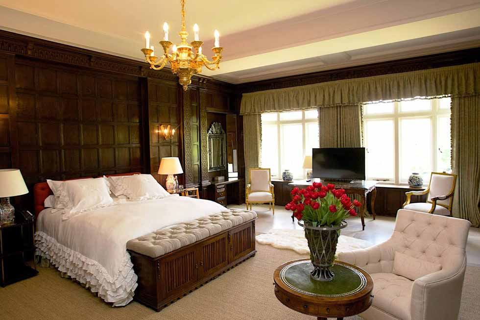 One of Cowdray House' beautiful bedroom suites
