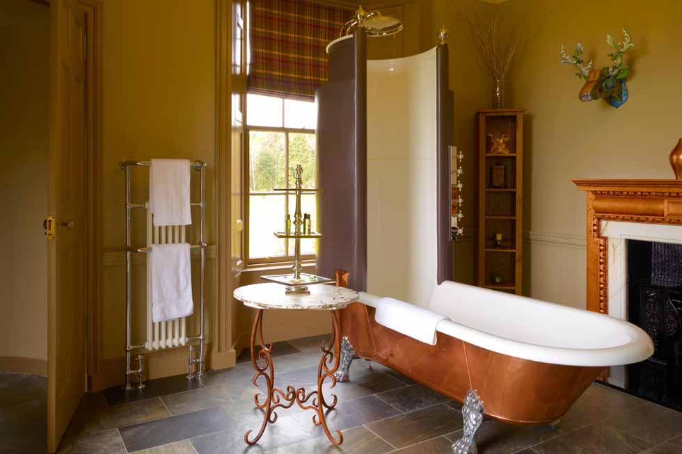 One of the stunning bathrooms at Fasque Castle