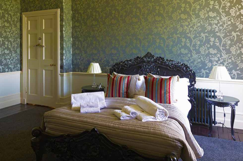 One of the many bedrooms at Alban Castle