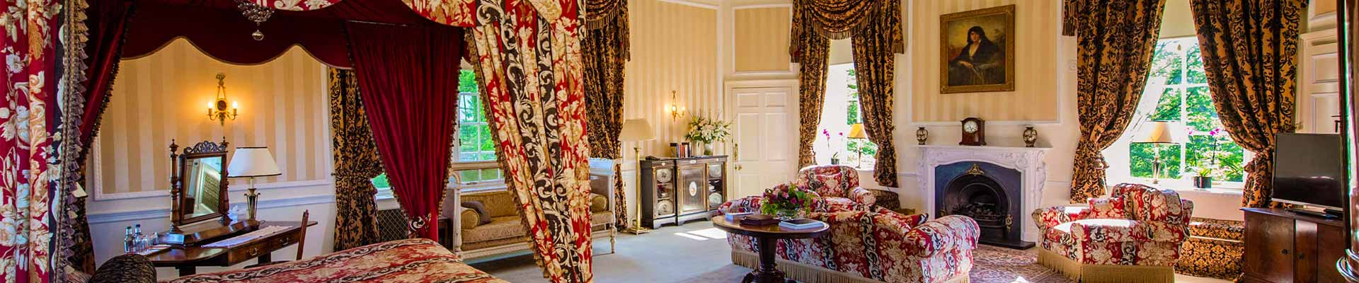 Photo of one of the beautiful bedroom suites at Glenapp Castle