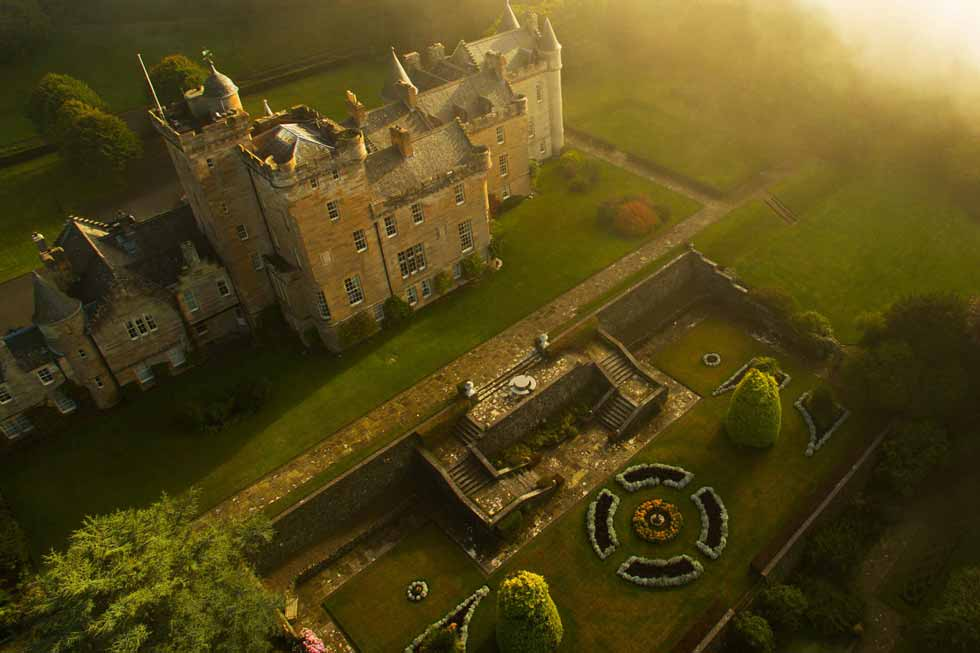 Photo looking down on Glenapp Castle and gardens