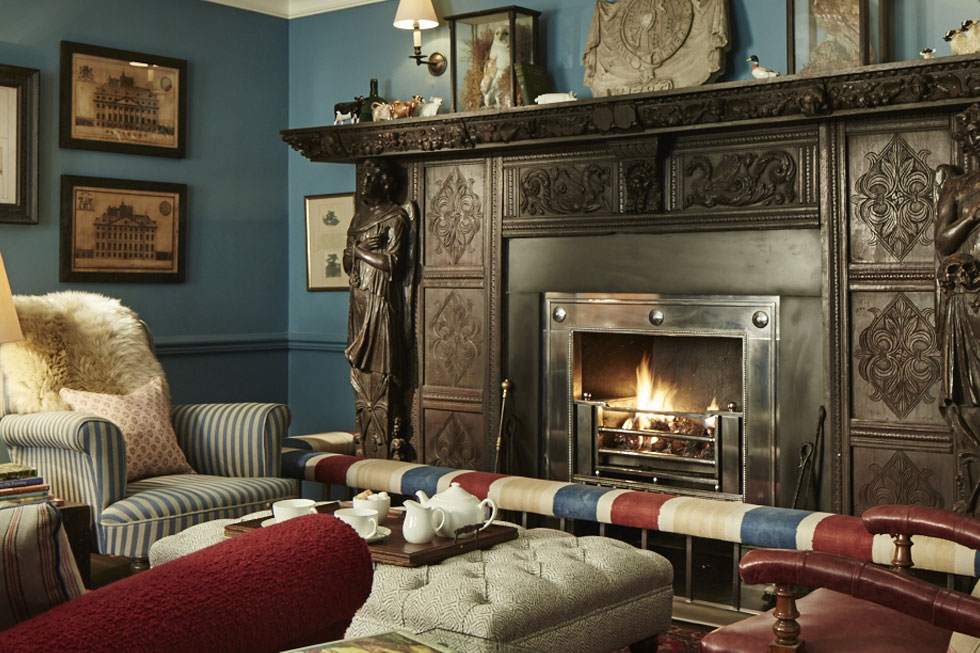 Photo of one of the fireplaces at Goodwood Hotel