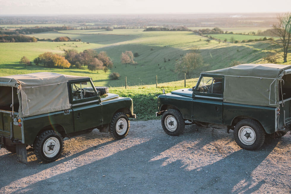 Photo of vintage Land Rovers