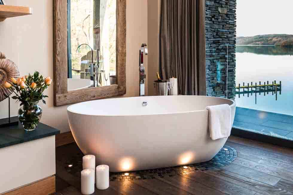 Relax in the bath overlooking Lake Windermere