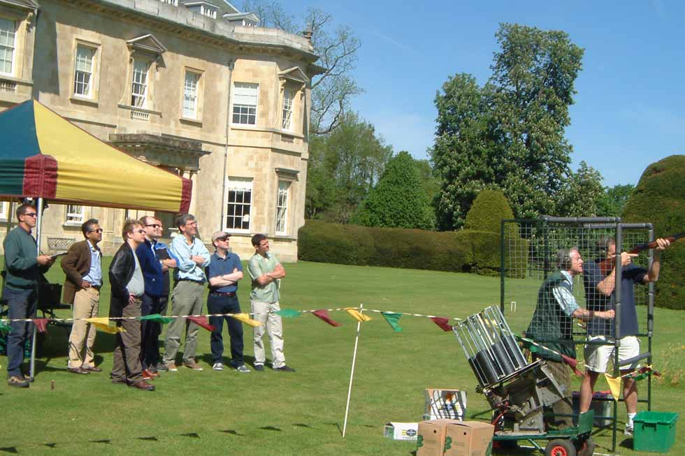 Image of a team building event shooting clay pigeons