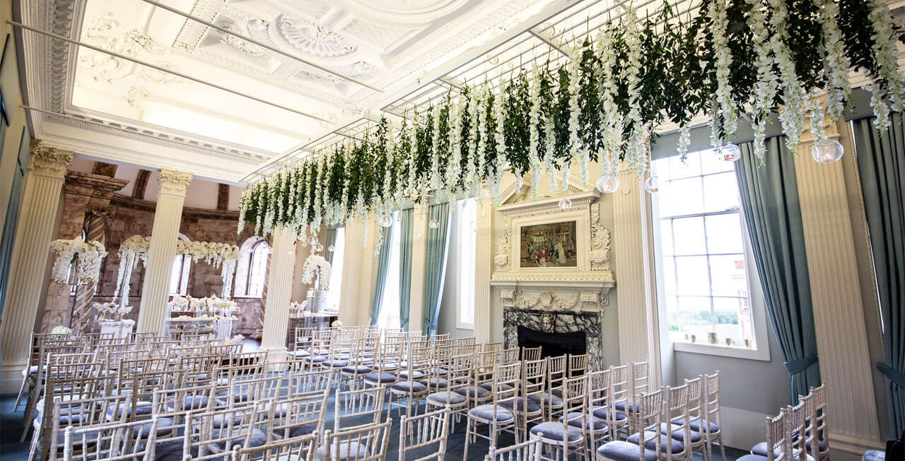 Photo of Hawkstone Hall dressed for a wedding