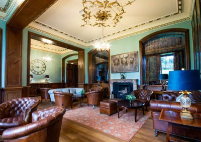 Photo of a fireplace at Hawkstone Hall