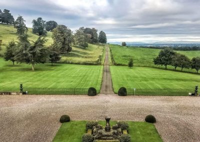 Photo looking down on the front lawn of Hawkstone Hall