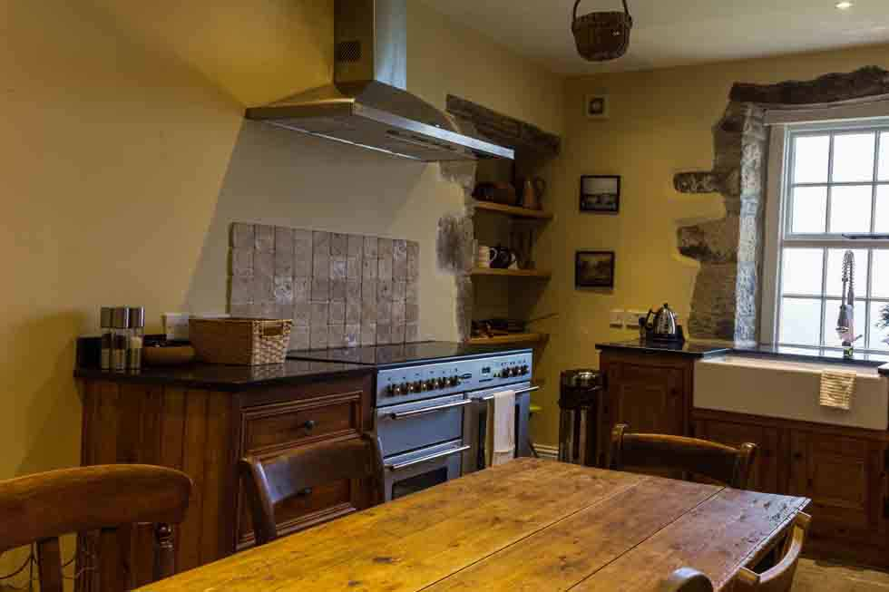 The rustic kitchen at Higher Scarcliffe