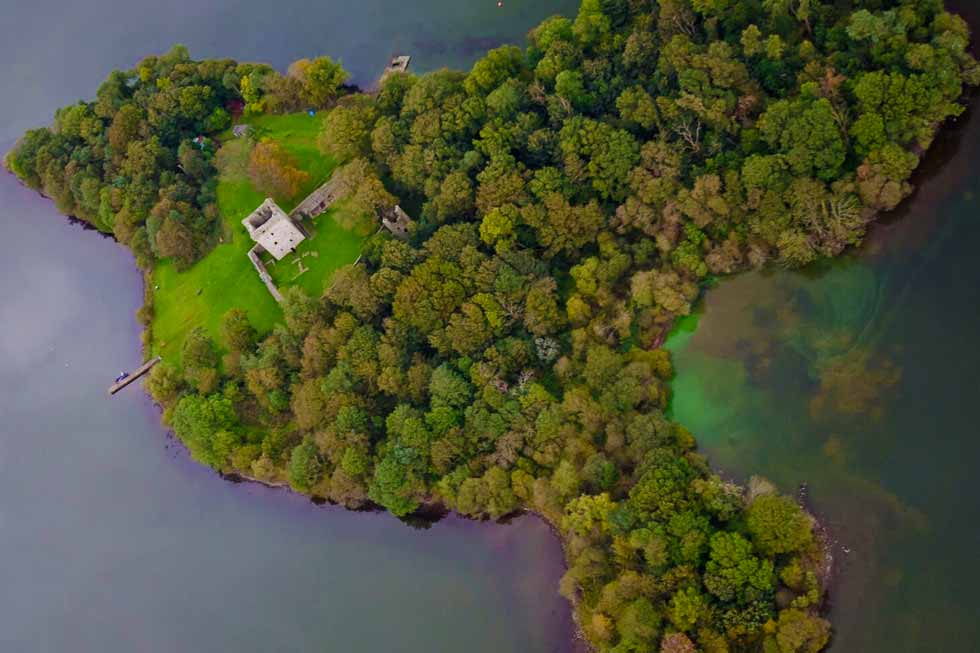 Photo looking down on the private island of Kinross House