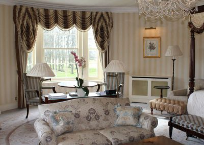 Photo of the lounge of the Grand Master Suite at Lucknam Park