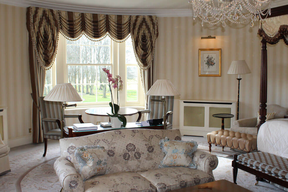 Photo of the lounge area in the Grand Master Suite at Lucknam Park