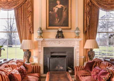 Photo of a fireplace at Lucknam Park