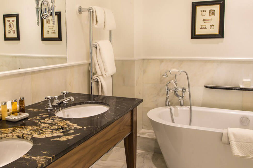 Photo of one of the bathrooms in a Grand Suites at Lucknam Park