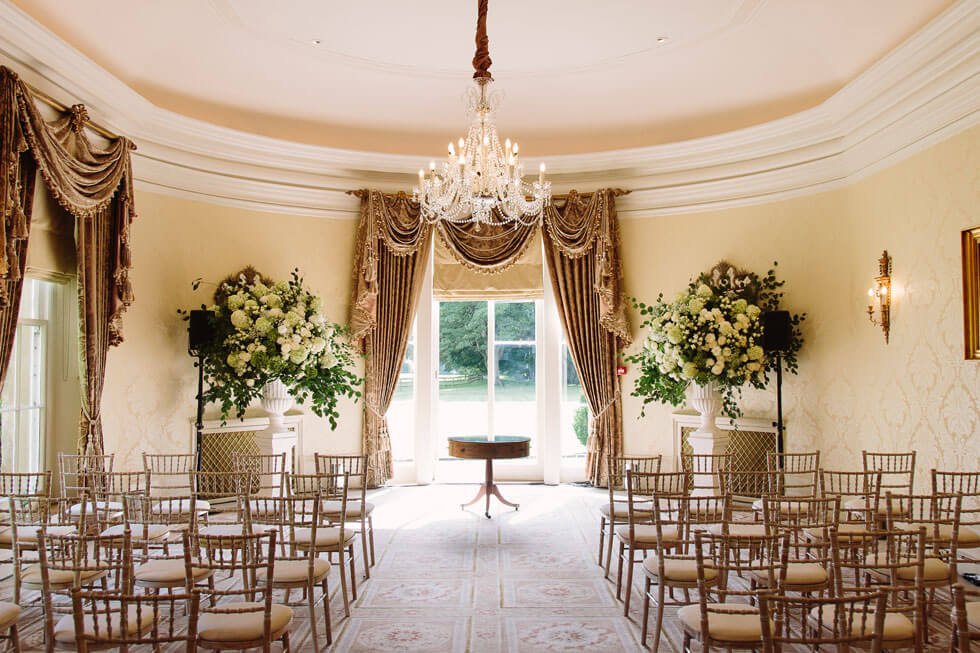 Photo of one of the beautiful reception rooms at Lucknam Park