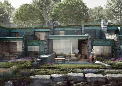 Photo of the artist's impression of the Clifftop Lodges at Pennsylvania Castle Estate