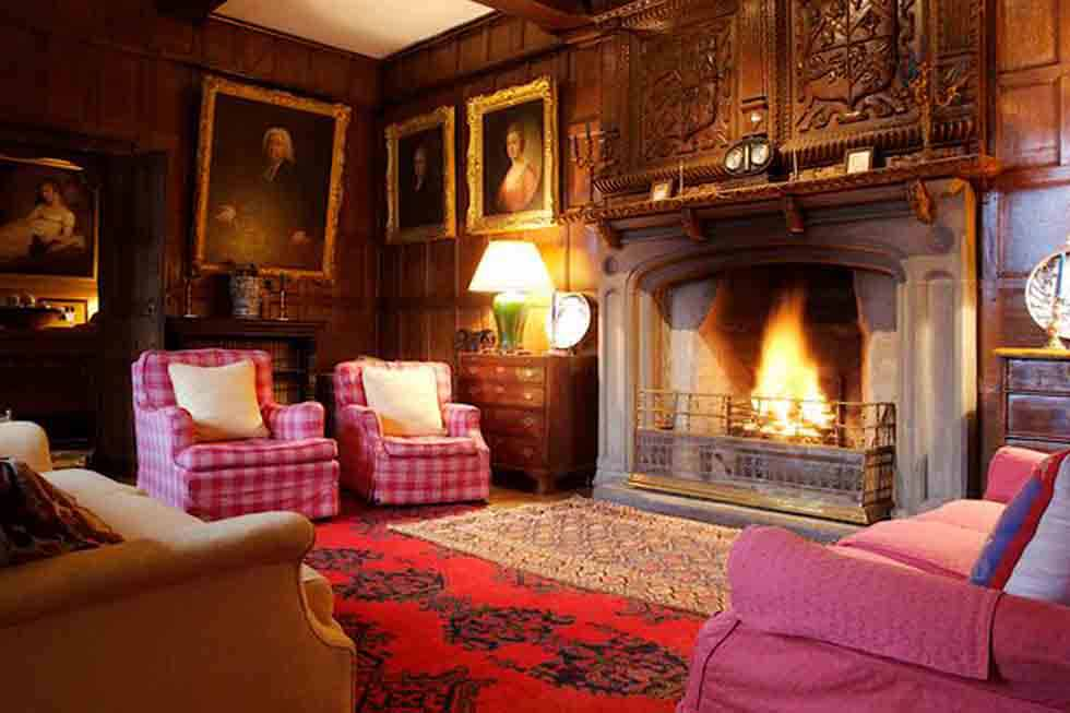 The beautiful fireplace at Pentrehobyn Hall