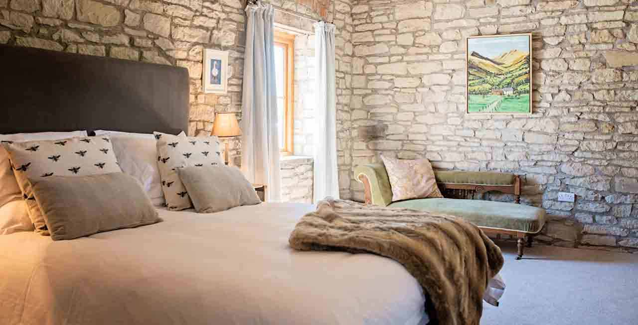 Luxury bedroom at The Old Mill & Hayloft