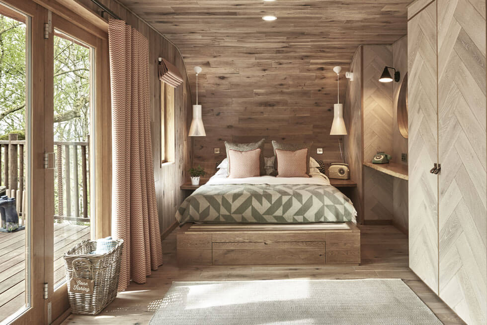 Photo of the bedroom in a treehouse at The Fish Hotel