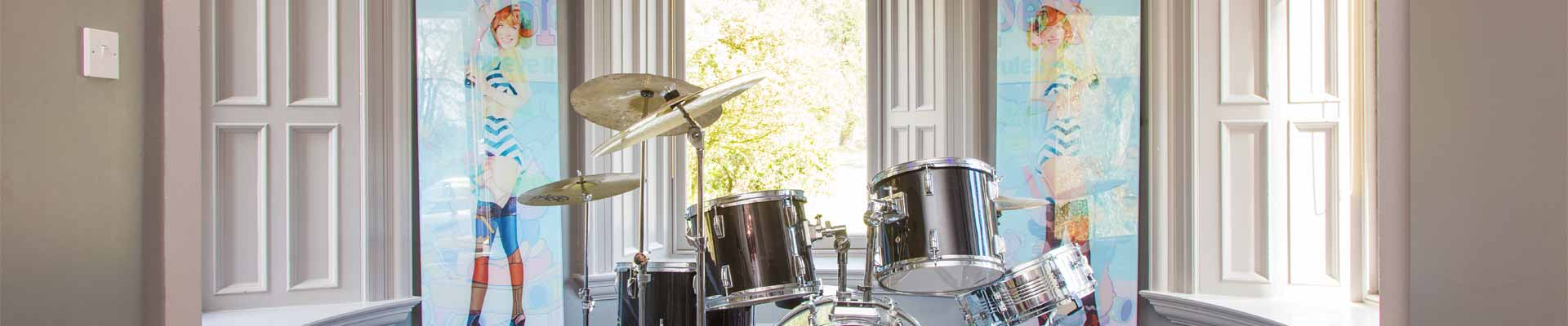 A photo of Galen House's drum set