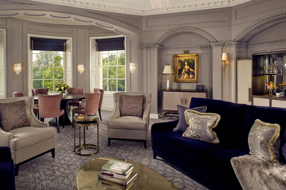 Photo of a bedroom lounge and the Presidential Suite lounge at The Langley