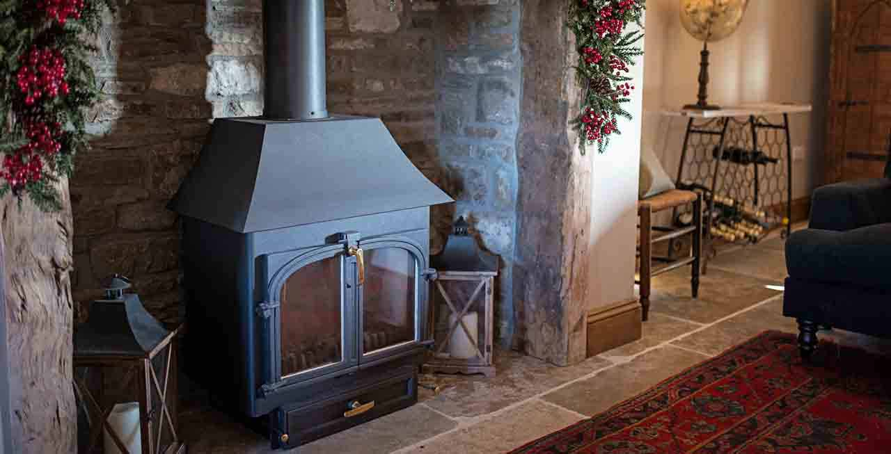 The wood burner at The Old Byre