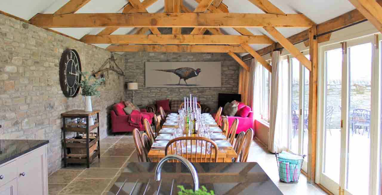 The stunning dining area of The Old Byre