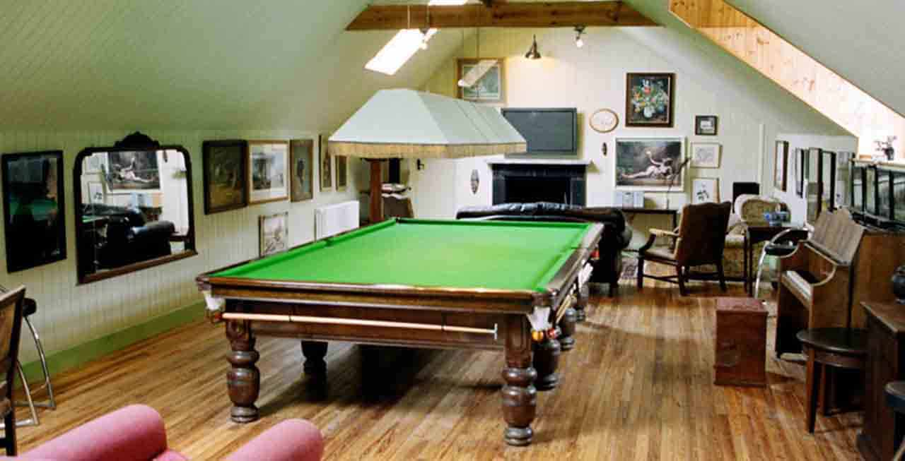 The games room at The Old Rectory