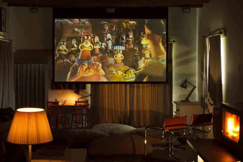 Enjoy a movie on the big screen at Tregulland Barn