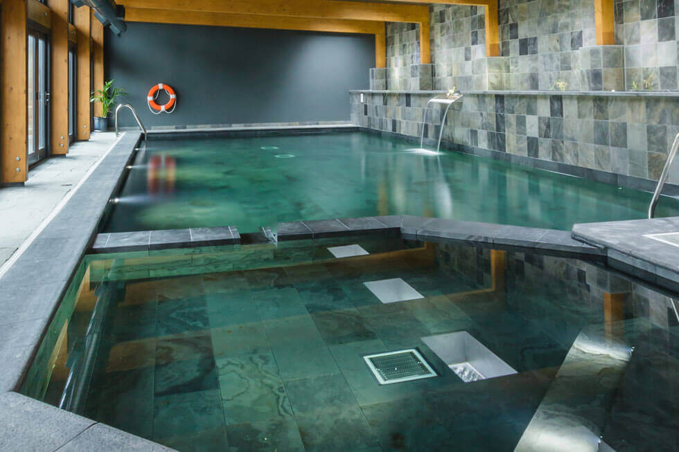 Photo of the eco swimming pool at Tregulland Barn