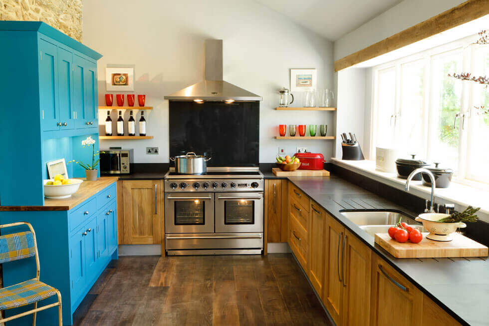 Photo of one of the lovely kitchens at Tregulland Retreat