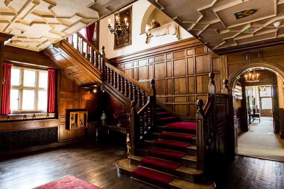 The impressive main staircase at Whitney Court